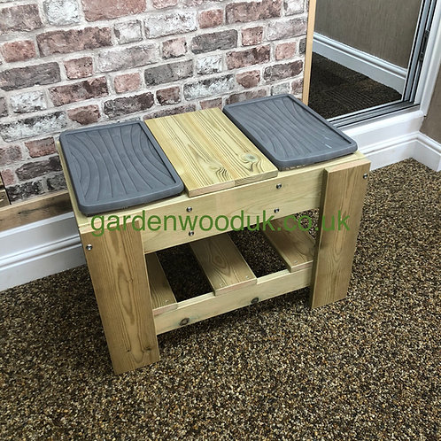 Small Double Sand/Water Table with Work Bench (2 small boxes)