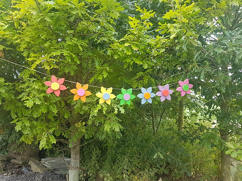Rainbow Wooden Flower Bunting