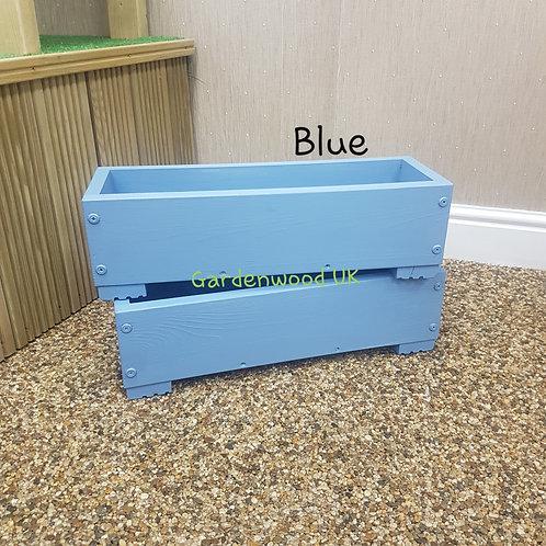 2x Blue Wooden Planter Boxes