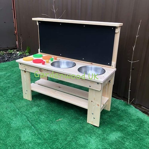 Garden Mud Kitchen, Hobs, Double Bowl and Chalkboard