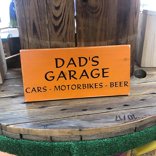 Handmade Wooden Dad's Garage Sign. Different colours available.