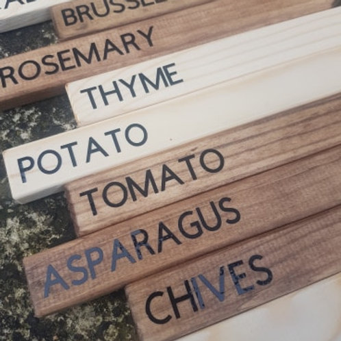 Pack of 10 Wooden Vegetable Markers, Herb Markers, Plant Markers