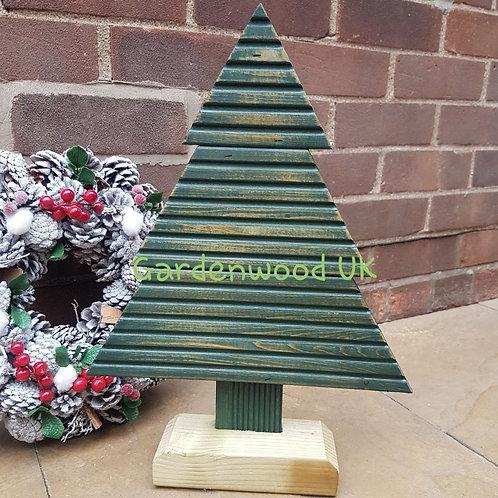 Green Small Handmade Rustic Wooden Christmas Tree (Repurposed Decking)