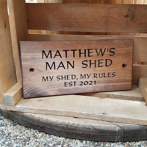 Wooden Man's Cave, Man Shed Sign. Different colours available.
