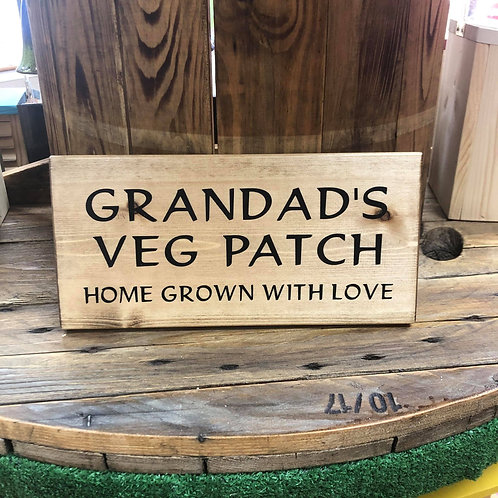 Handmade Wooden Grandad's Veg Patch Sign. Different colours available.