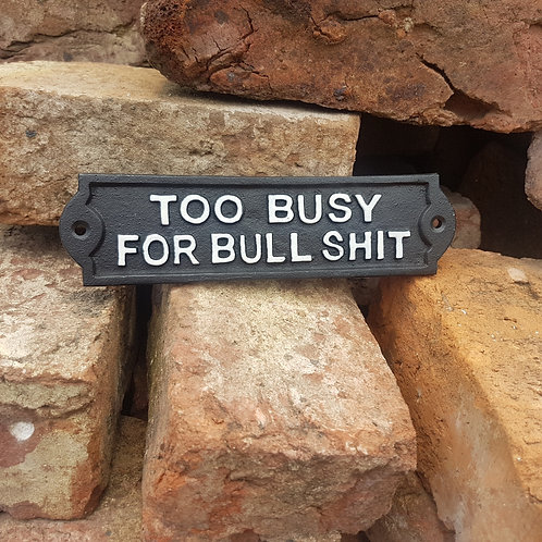 'Too Busy' Cast Iron Sign