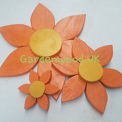Set of 3 Wooden Flowers