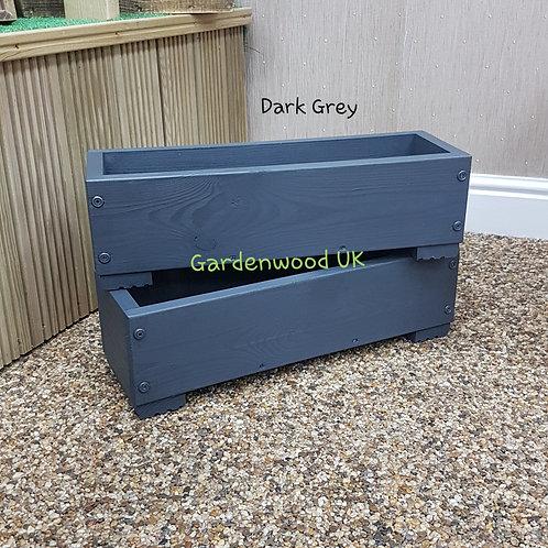 2x Dark Grey Wooden Planter Boxes
