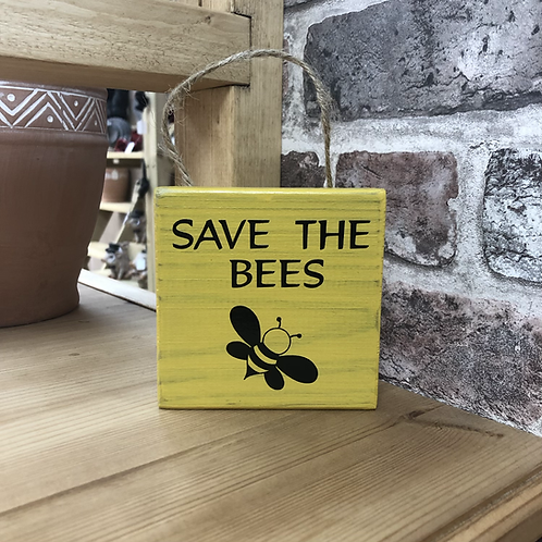 Save the Bees Garden Wooden Sign. Different colours available