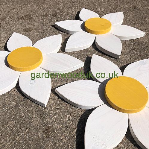 Set of 3 Wooden Flowers (45cm - 6 petals)