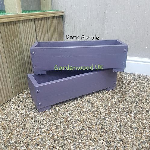 2x Dark Purple Wooden Planter Boxes