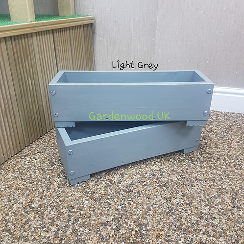 2x Light Grey Wooden Planter Boxes