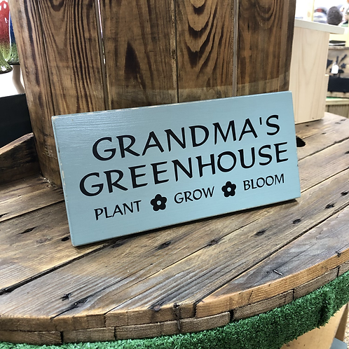 Handmade Wooden Personalised Greenhouse Sign. Different colours available.