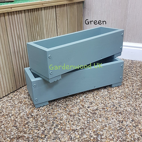 2x Green Wooden Planter Boxes