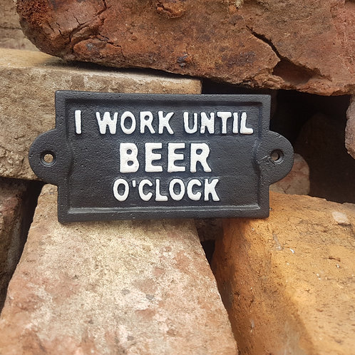 Beer O'Clock Cast Iron Sign BLK