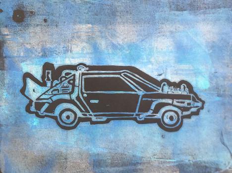 Back to the future DeLorean Lino print.j