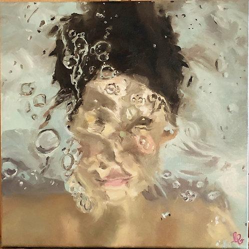 Girl Underwater Original Oil Painting