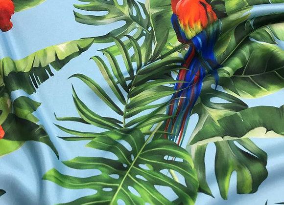 Twill di seta parrot azzurro
