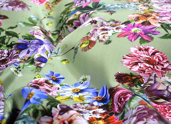 Seta floreale base verde