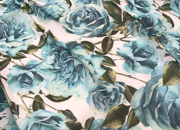 Chiffon di seta Rose turchese