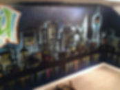 Toronto skyline mural. By Jesse Ransome using only spray paint.