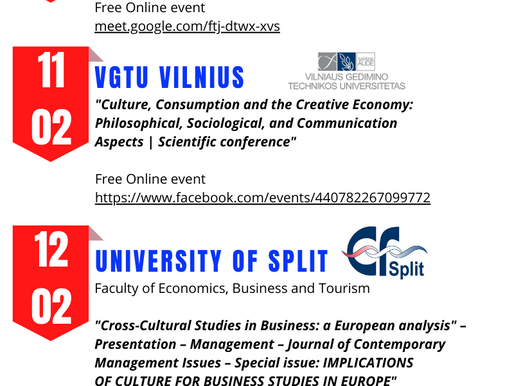 January and February 2021 full Multiplier Events for CULTURAL STUDIES in BUSINESS Project