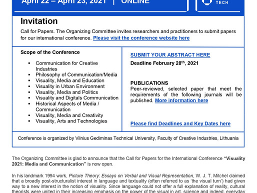 Call for Papers - VISUALITY 2021: Media and Communication - extended deadline for papers 10/03/2021