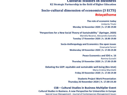 La Sapienza, leader of CSB project, started on 16/11/20 a 3rd Edition of the Pilot Course