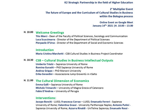 The Sapienza University  organizes the 2° M.E. on 14/01 involving universities of 4 Italian regions
