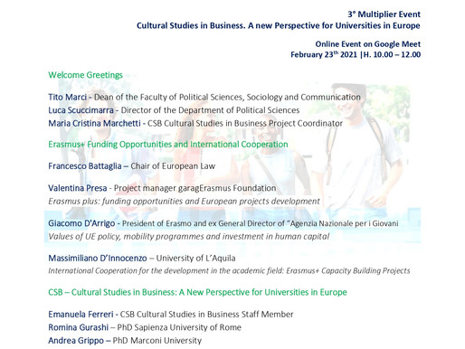 On 23/02/2021 La Sapienza organizes the last Multiplier Event with another great panel!