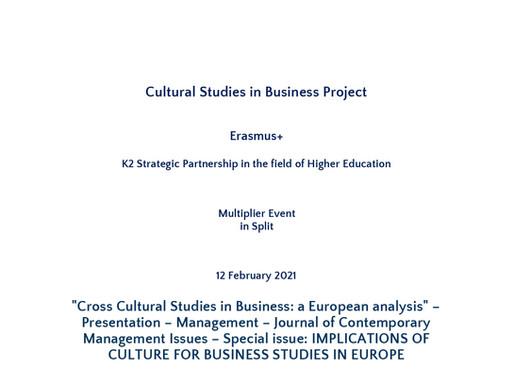 "12/02 ""Cross Cultural Studies in Business: a European analysis"" + Management – Journal presentation"