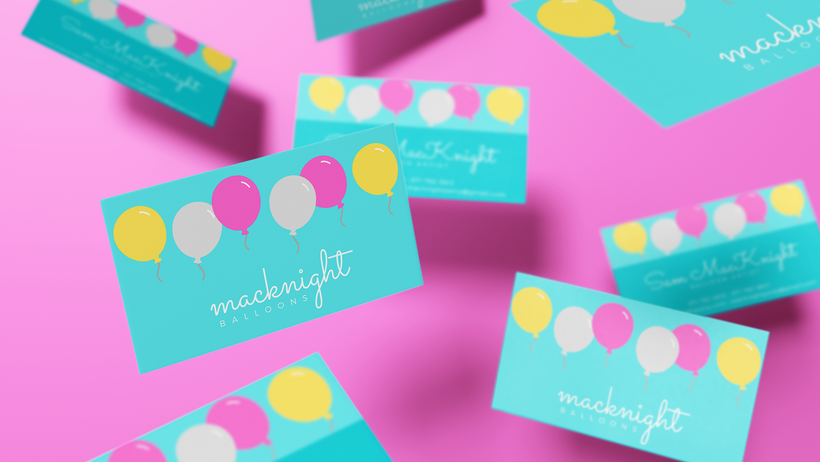 macknight balloons business card