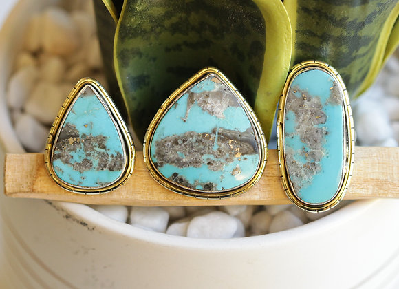SILVER MEXICAN TURQUOISE  LULE RINGS
