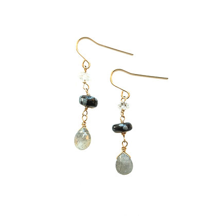 MOONLIGHT TIERED GEMSTONE EARRINGS