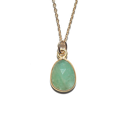 ROSE CUT EMERALD NECKLACE-MAY BIRTHSTONE