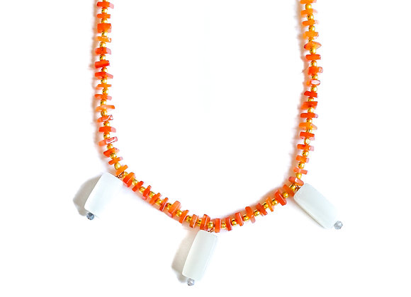 CARNELIAN LETHER AND STONE NECKLACE