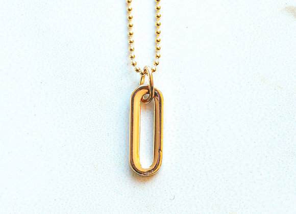 GOLD LONG OVAL NECKLACE
