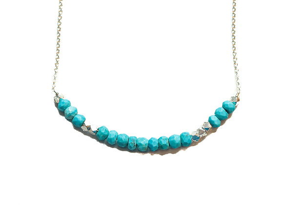 SILVER TURQUOISE LOVE MORSE CODE NECKLACE