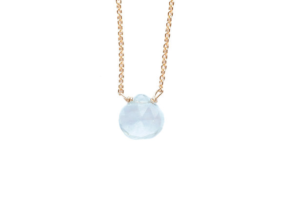 HEART SHAPED AQUAMARINE MINERAL NECKLACE