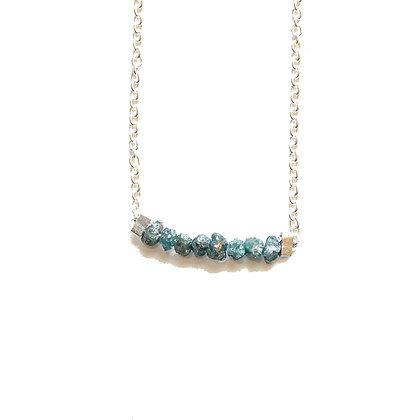 SILVER BLUE ROUGH DIAMOND NECKLACE