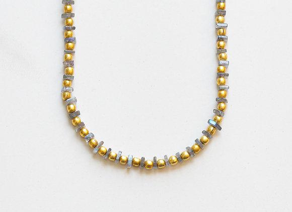 LABRADORITE + GOLD NECKLACE