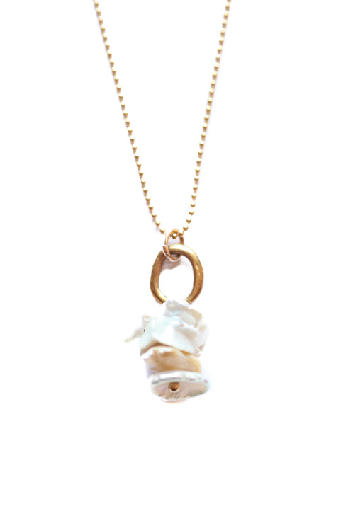 elisa rose gold metallic ken jewelry lyst pendant necklace scott dra in pearl of mother ivory