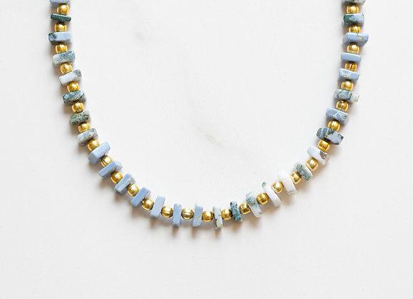 BLUE OPAL & GOLD NECKLACE