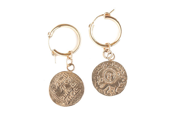 LIONESS COIN EARRINGS