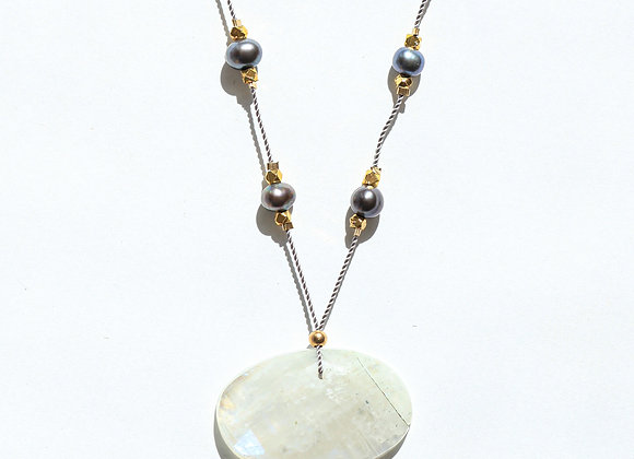 MOONSTONE + BLACK PEARL STARS NECKLACE ON GREY