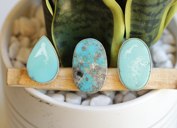 MEXICAN TURQUOISE  SILVER RINGS (E8)