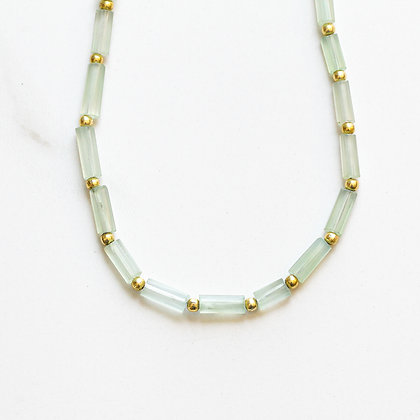 LONG GREEN CHALCEDONY + GOLD NECKLACE