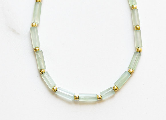 GREEN CHALCEDONY + GOLD NECKLACE