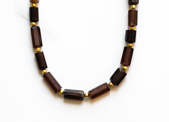 BROWN CHALCEDONY + GOLD NECKLACE