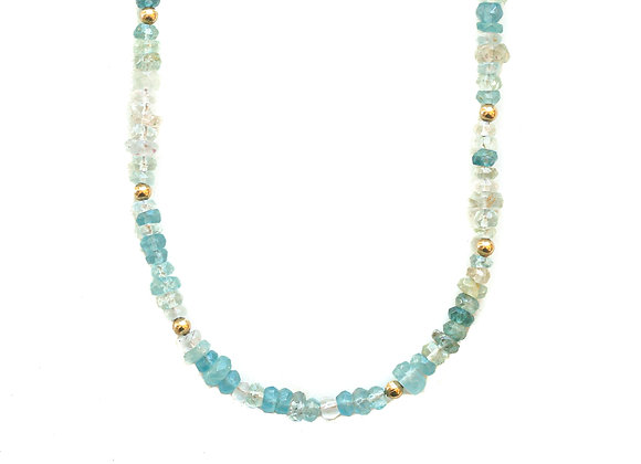 CHUNKY AQUAMARINE MOON CYCLE NECKLACE